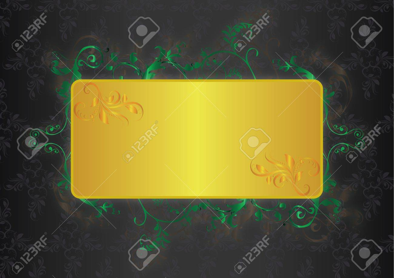 Elements for frame or book cover, card with green floral insertion and a box for text in a gold color. Stock Vector - 13726112