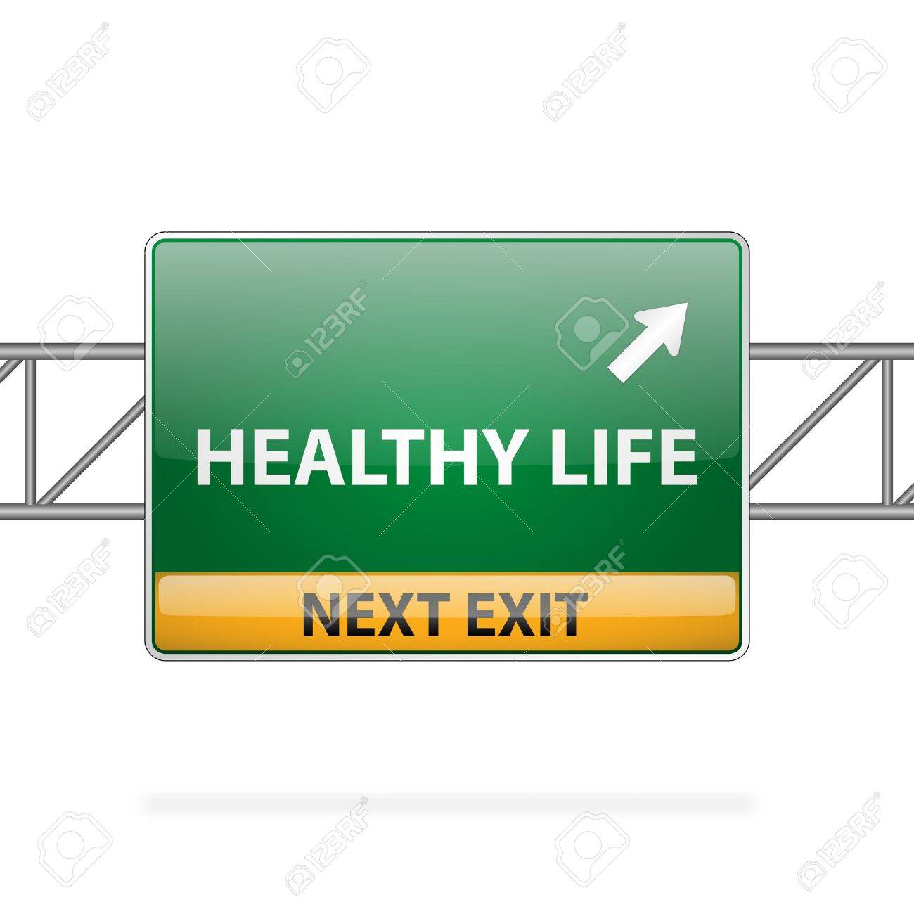 Healthy life concept with road sign showing a change Stock Vector - 15140821