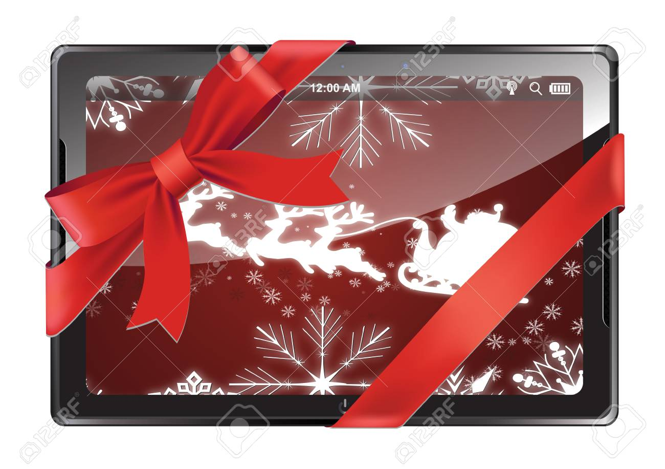 Tablet PC with red ribbon and bow isolated on a white background Stock Vector - 16015650