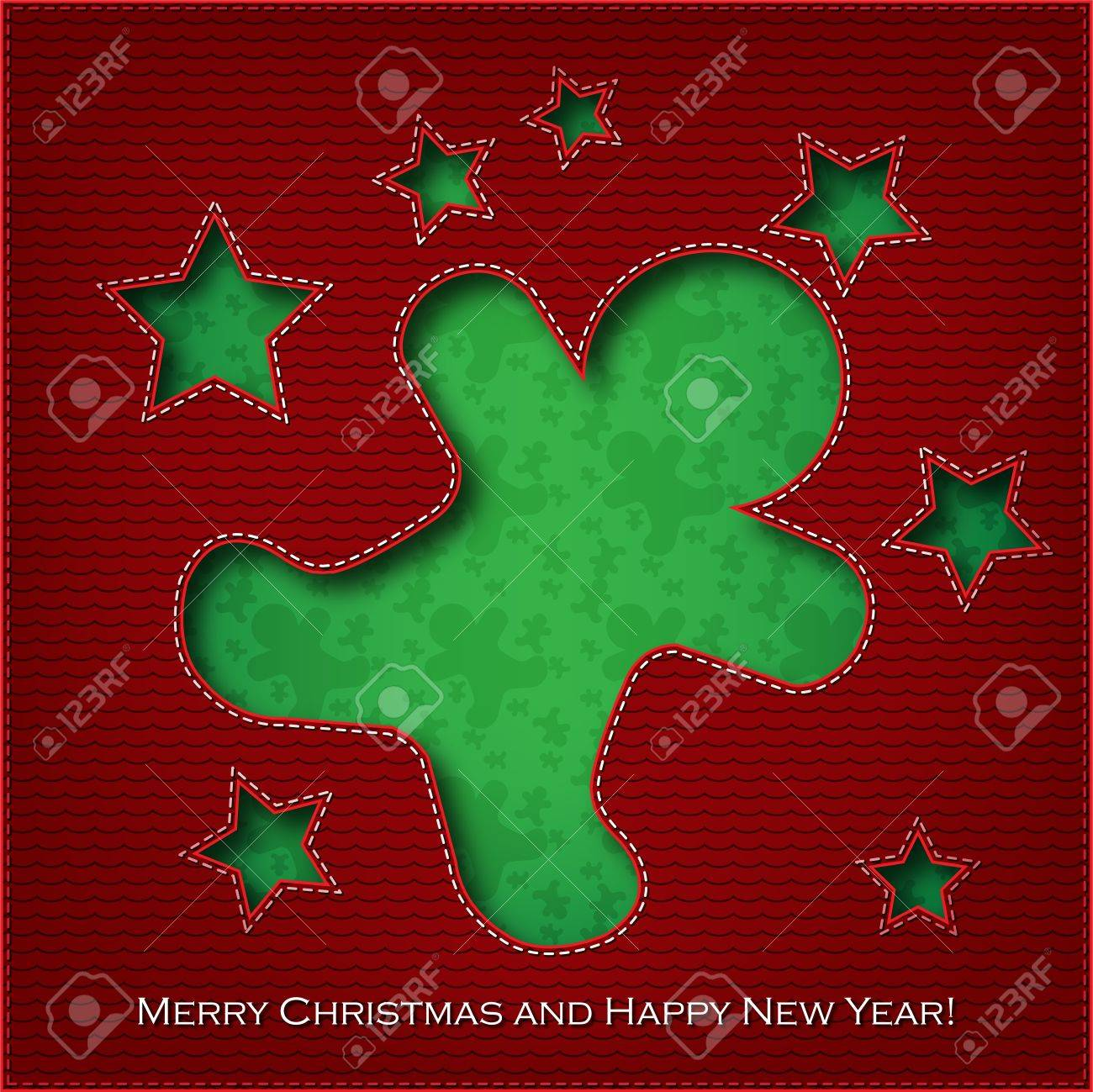 Christmas card cookie cut the textile Stock Vector - 16240274