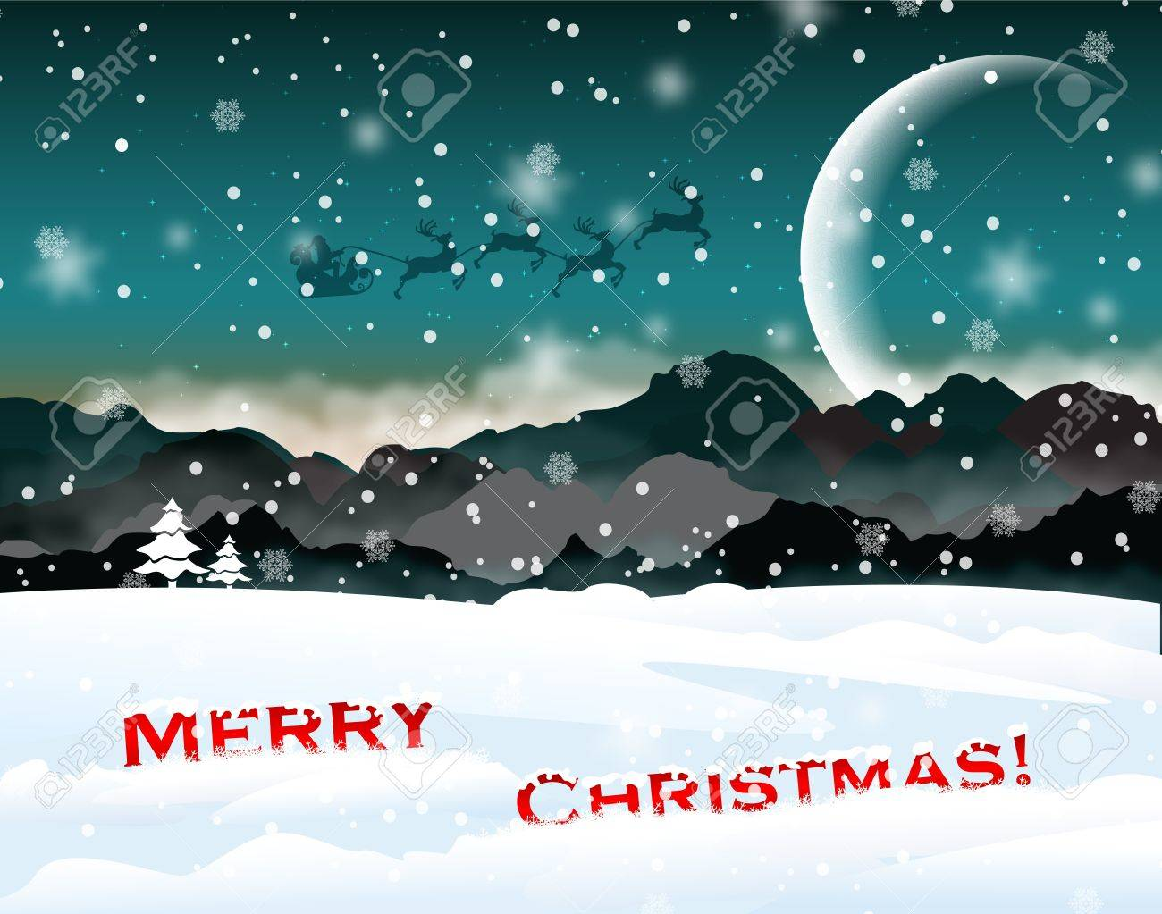 Winter Christmas landscape with santa Stock Vector - 16423422