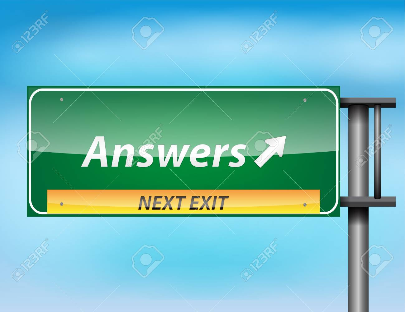 Glossy highway sign with 'Answers'' text on a blue background. Stock Vector - 17513542
