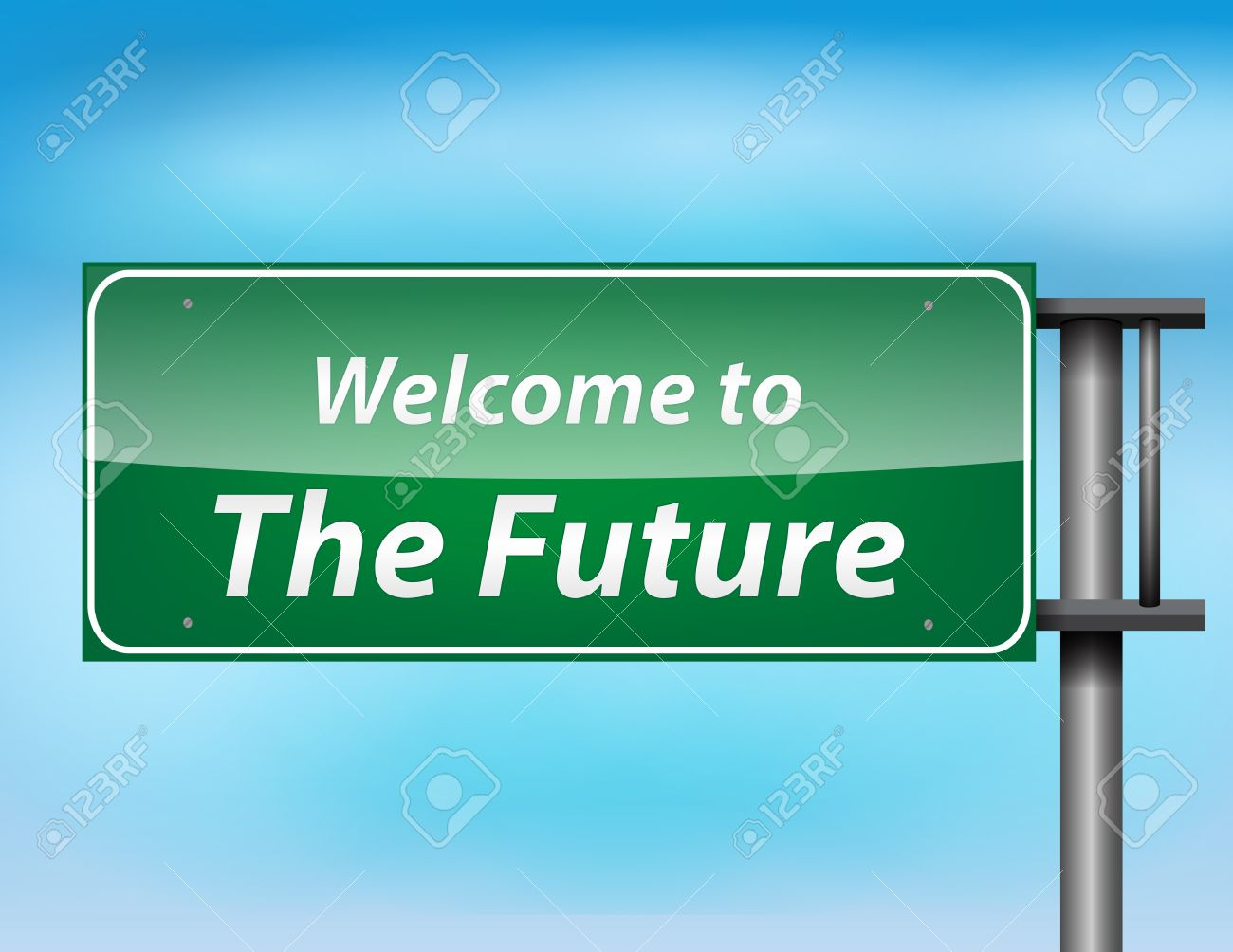 Glossy highway sign with 'welcome to thefuture' text on a blue background. Stock Vector - 17513533