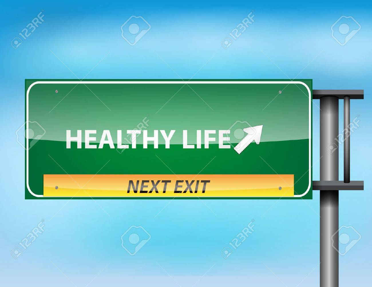 Glossy highway sign with Healthy Life text on a blue background. Stock Vector - 17513535