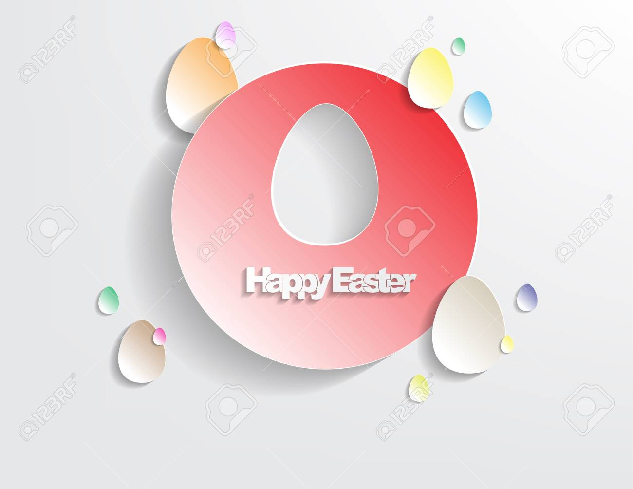 Happy Easter Background with sticker eggs, simple background Stock Vector - 17513552
