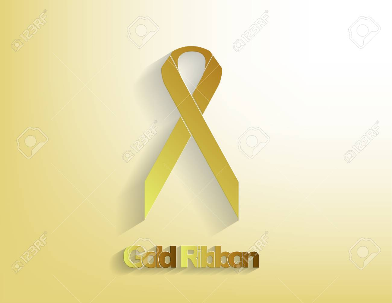Gold awareness Ribbon on a glody background. Stock Vector - 17624251