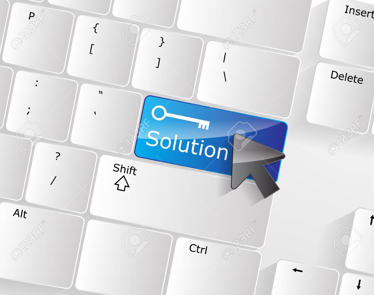 Computer keyboard - blue key Solution, close-up with a mouse over Stock Vector - 17853403