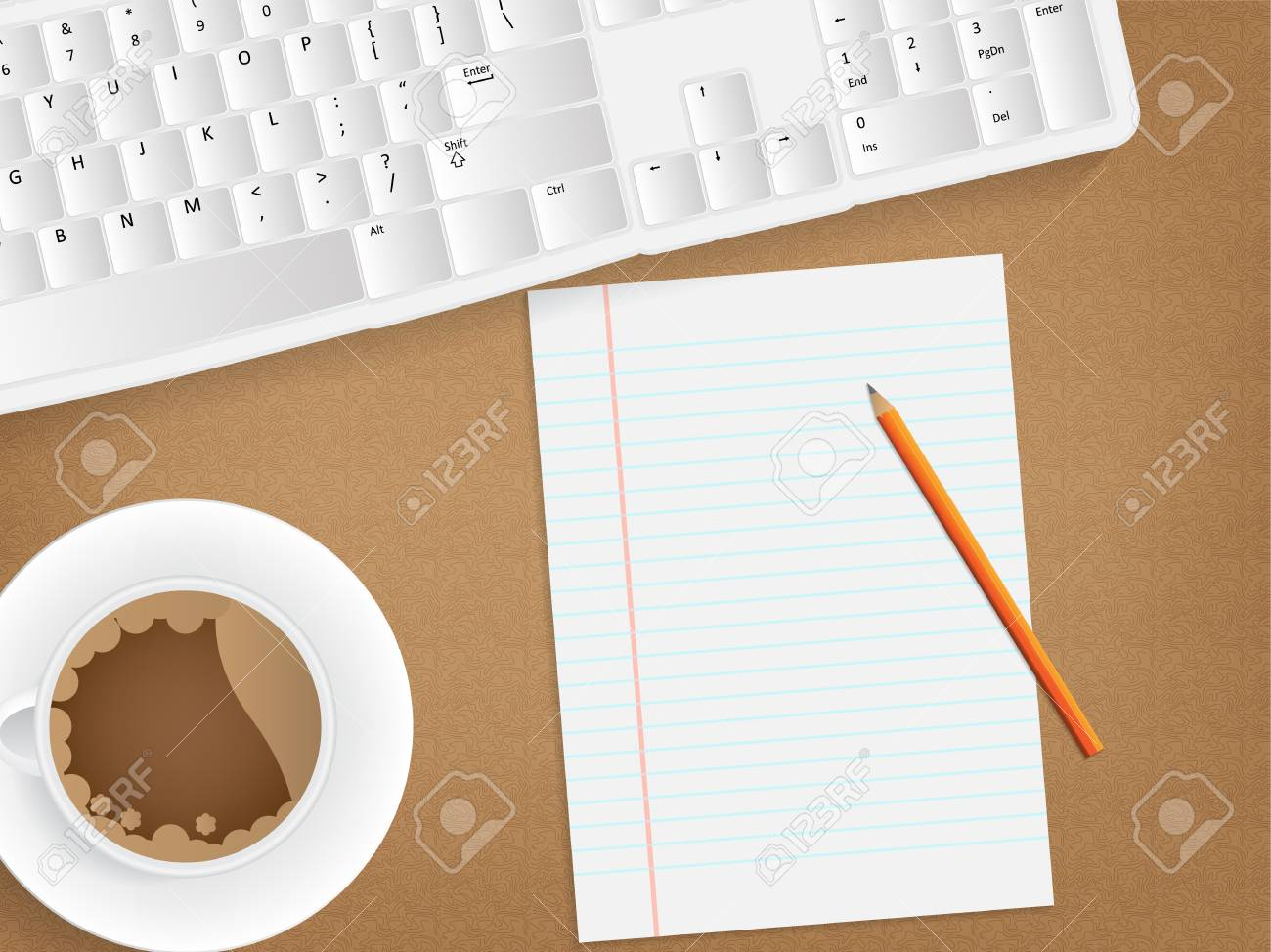 Desk concept with a blank paper, a cup of coffee and a keyboard. Stock Vector - 17853409