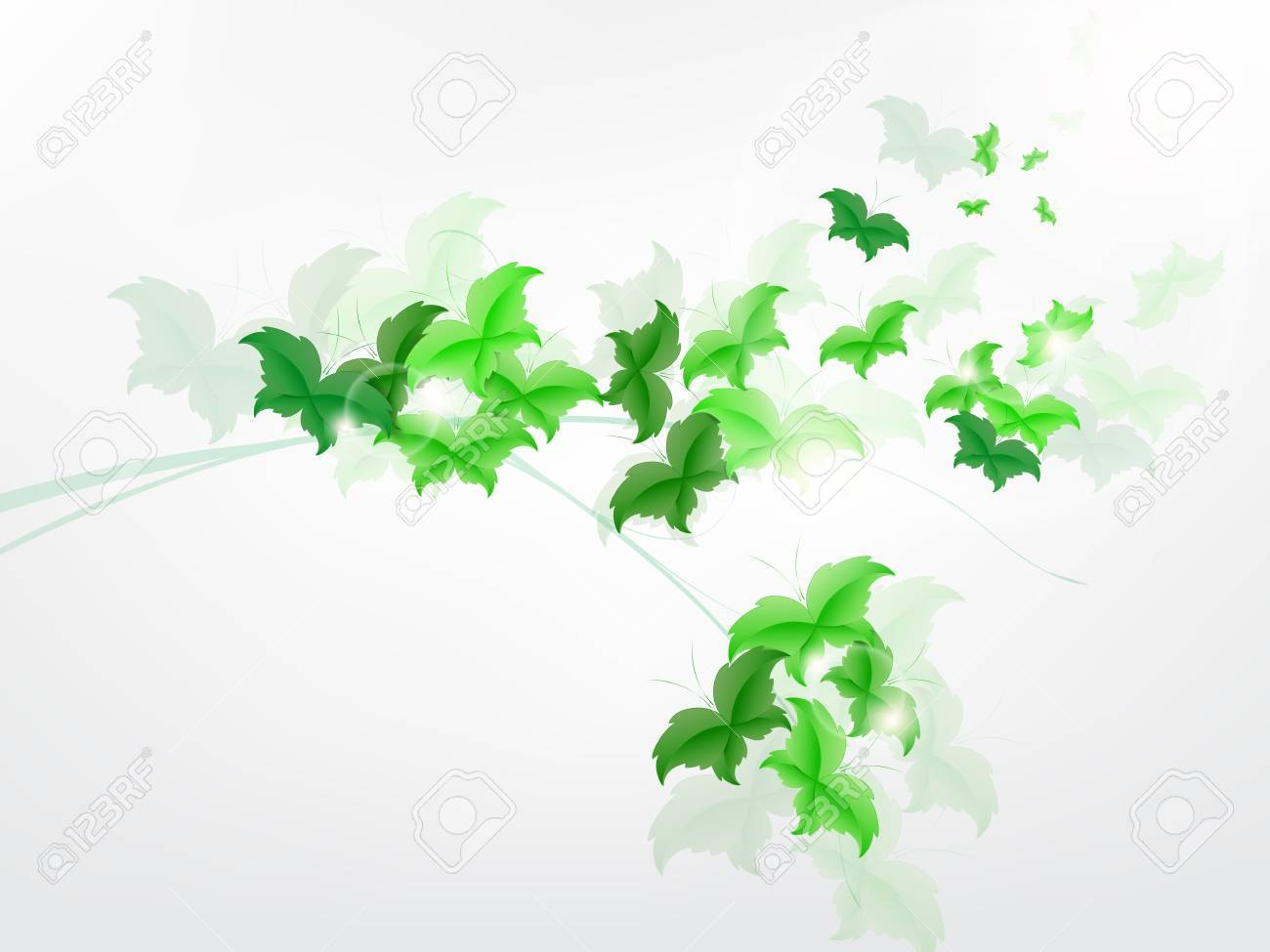 Environmental Background with green leaf butterflies on a light green background. Stock Vector - 17965686