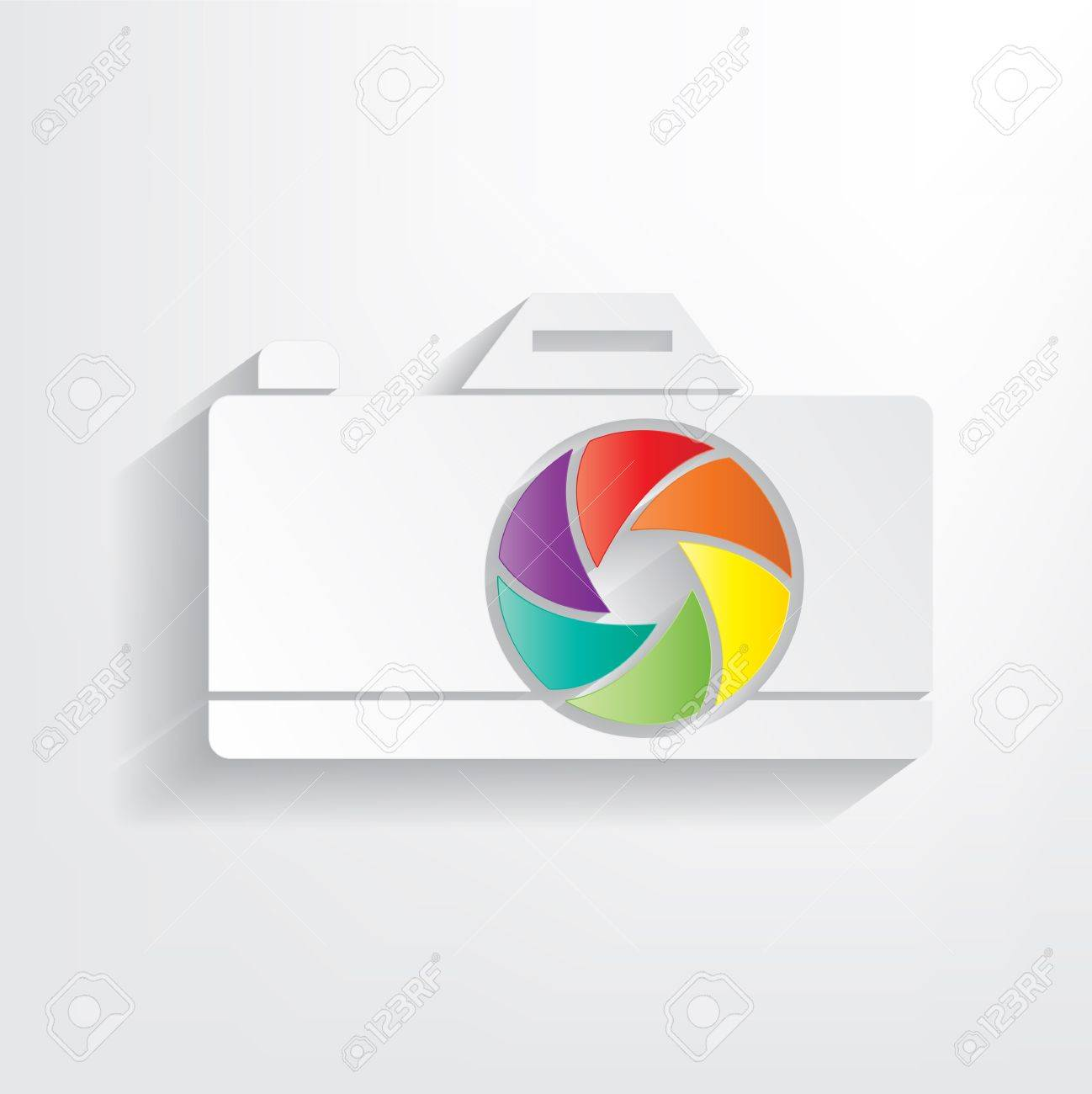 Sticker camera with color aperture on a grey background Stock Vector - 18143784