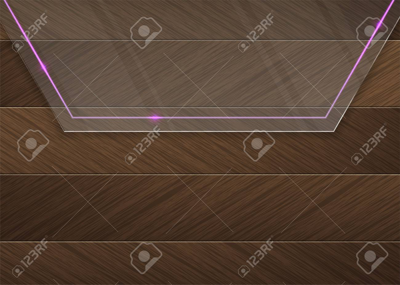 Glass panel with a pink neon light over a brown wood background Stock Vector - 18279168