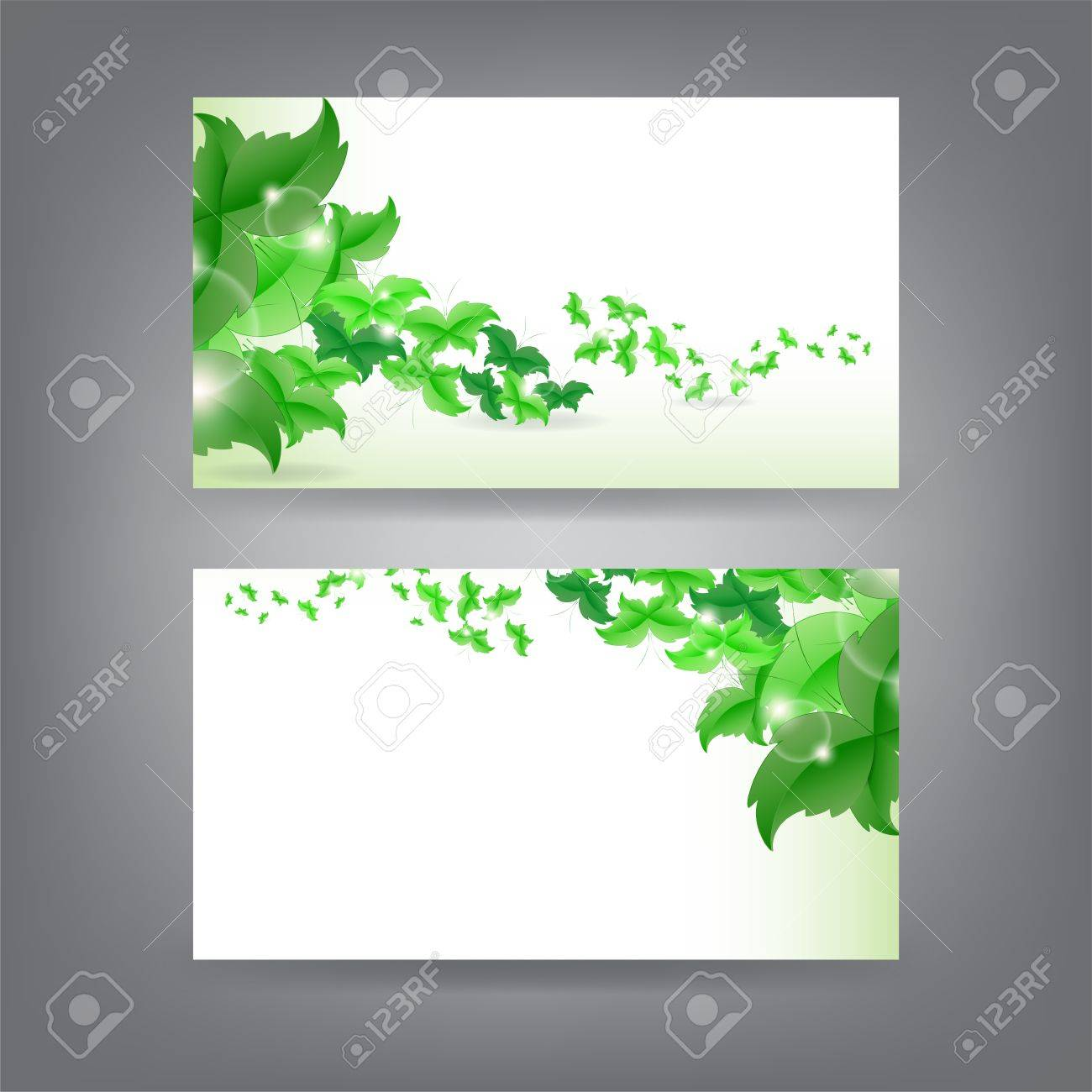 Environment Theme Business Card Template With Green Butterfly ...
