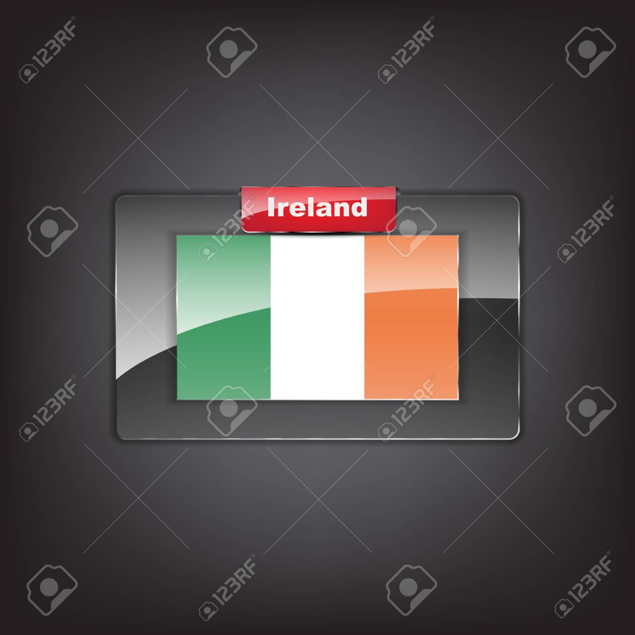 Glass button of the flag of Ireland with a red bow. Stock Vector - 19353731