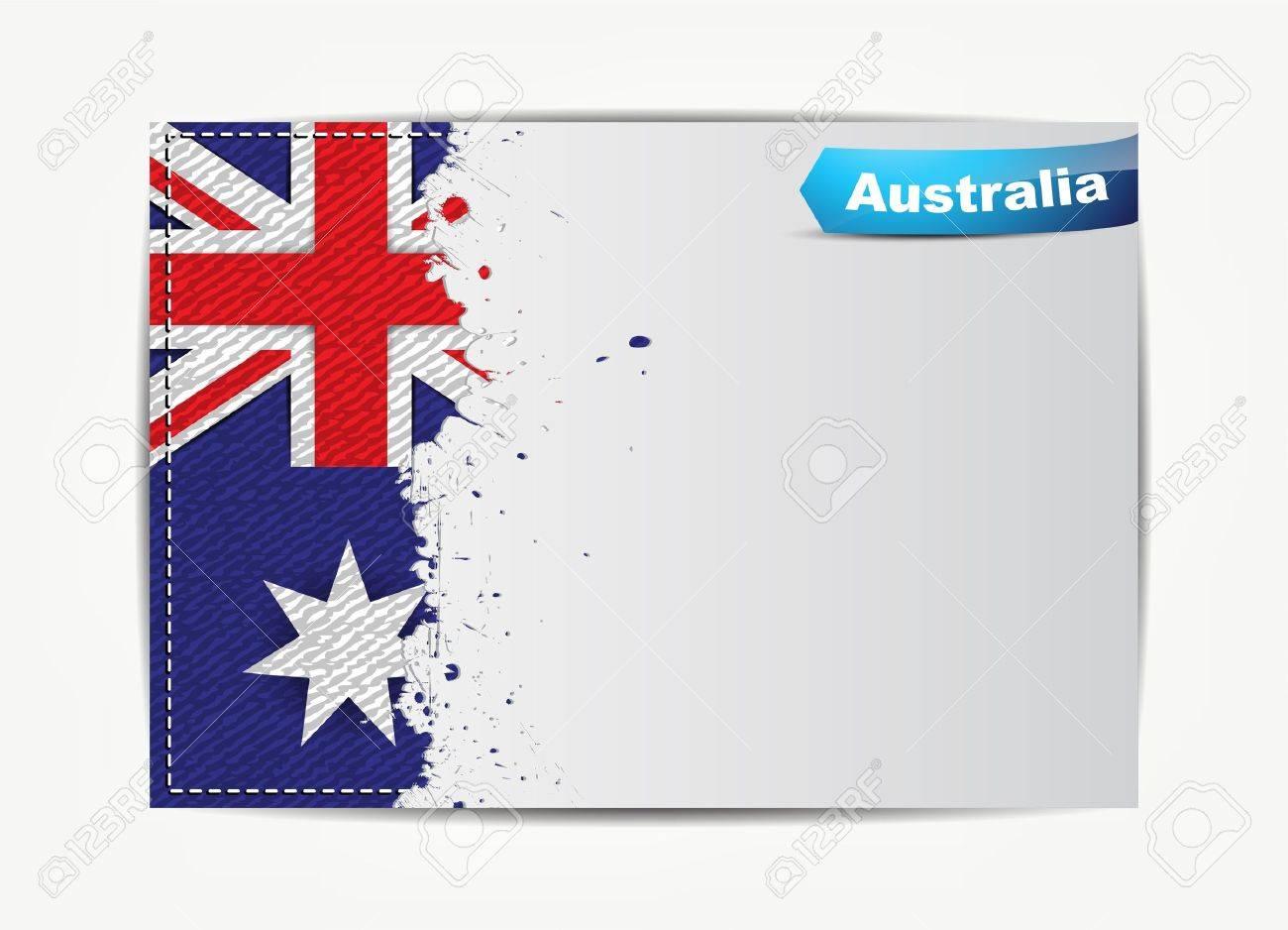 Genähtes Australien Flagge Mit Grunge Papier Rahmen Für Ihren Text ...