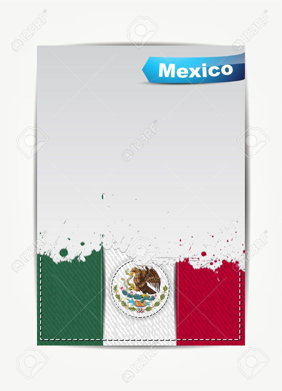 Stitched Mexico flag with Mexico Country Vector