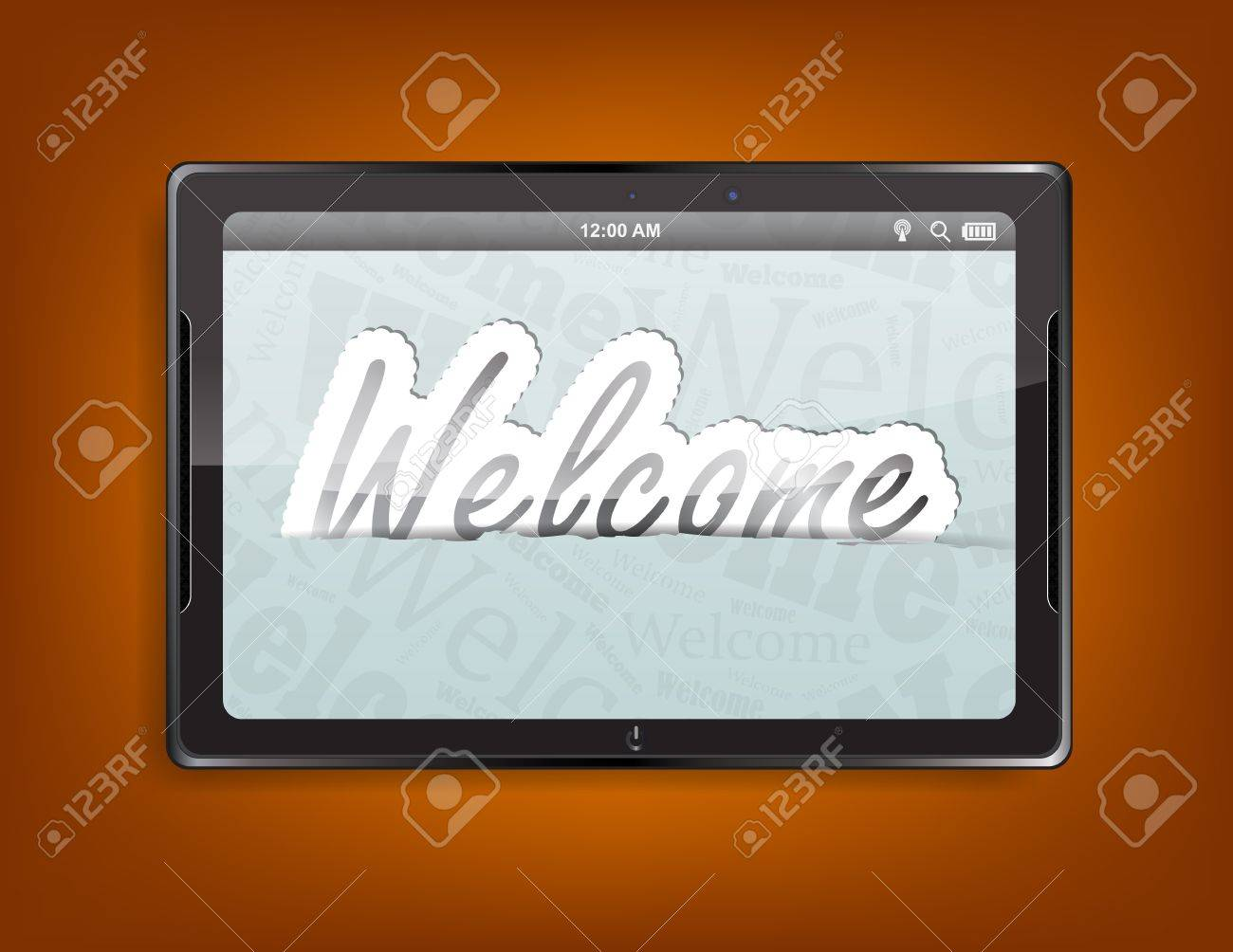 Tablet computer with the message