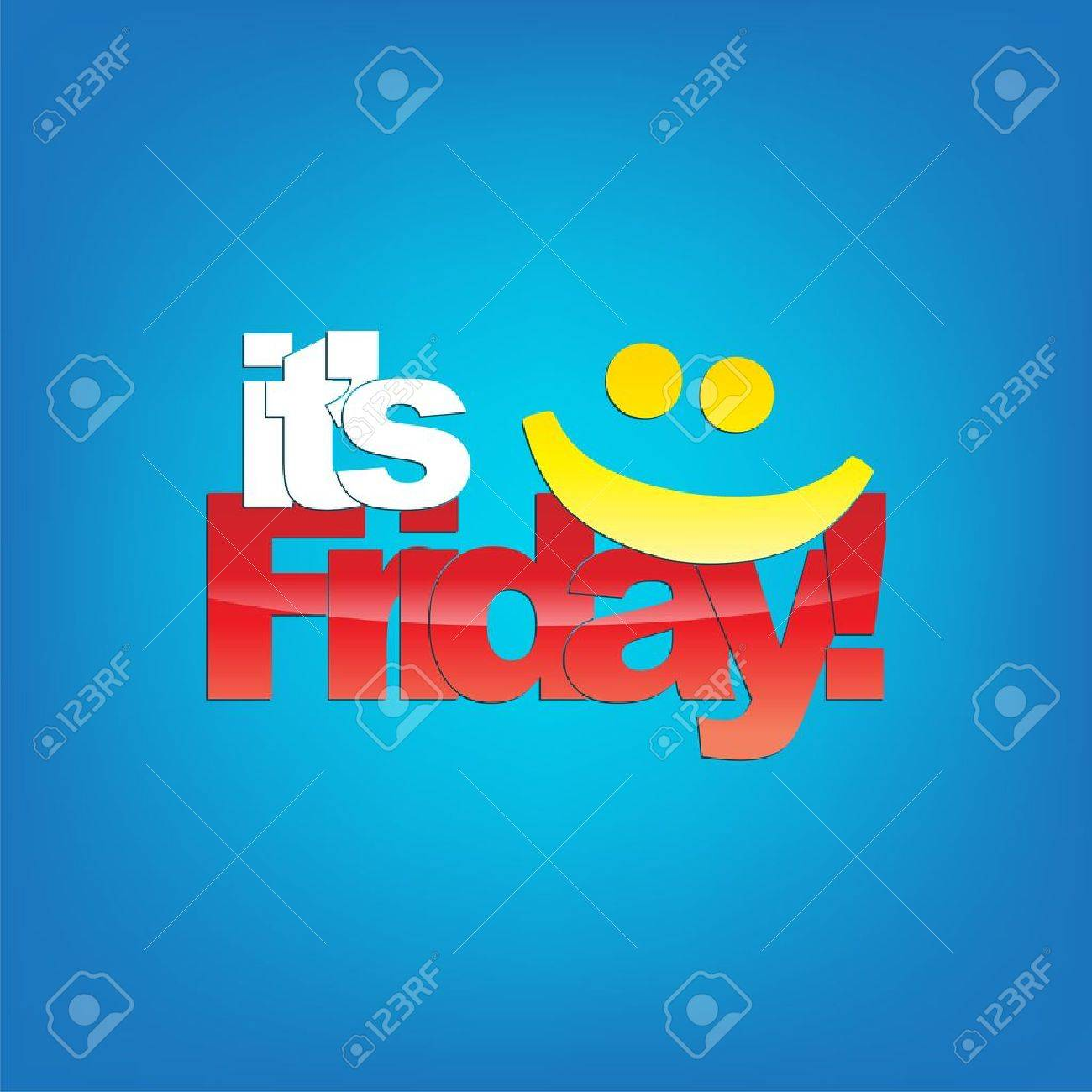 Its Friday Yellow Smiley Face Typography Background Royalty Free