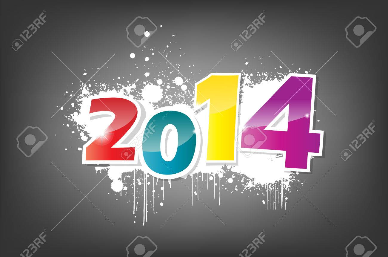 New year 2014 wallpaper, grunge effect. Stock Vector - 22587846