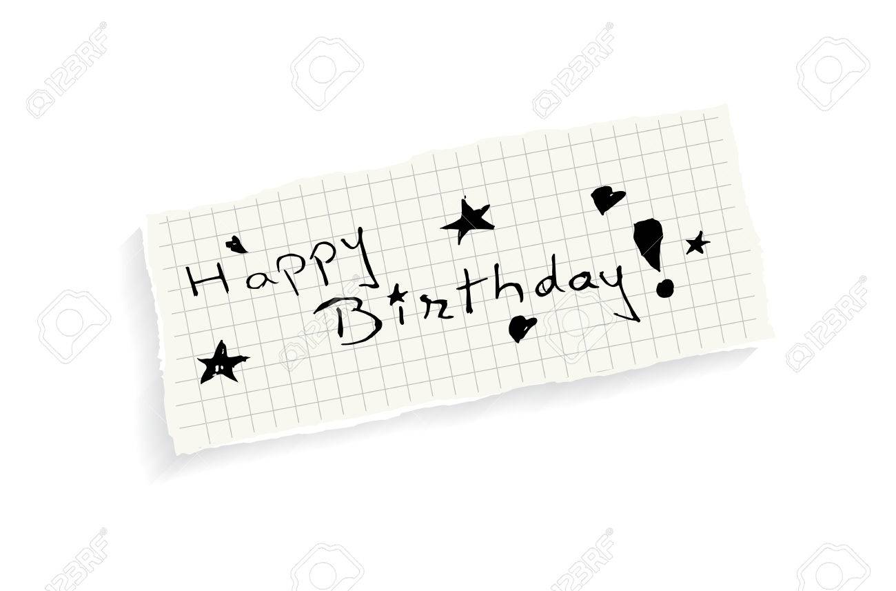 happy birthday hand writing text on a piece of math paper happy birthday hand writing text on a piece of math paper isolated on a white