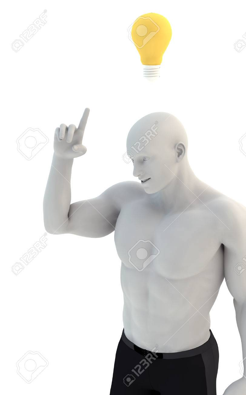 3D Man Thinking With Idea Bulb Above His Head Over White Background Illustration Stock