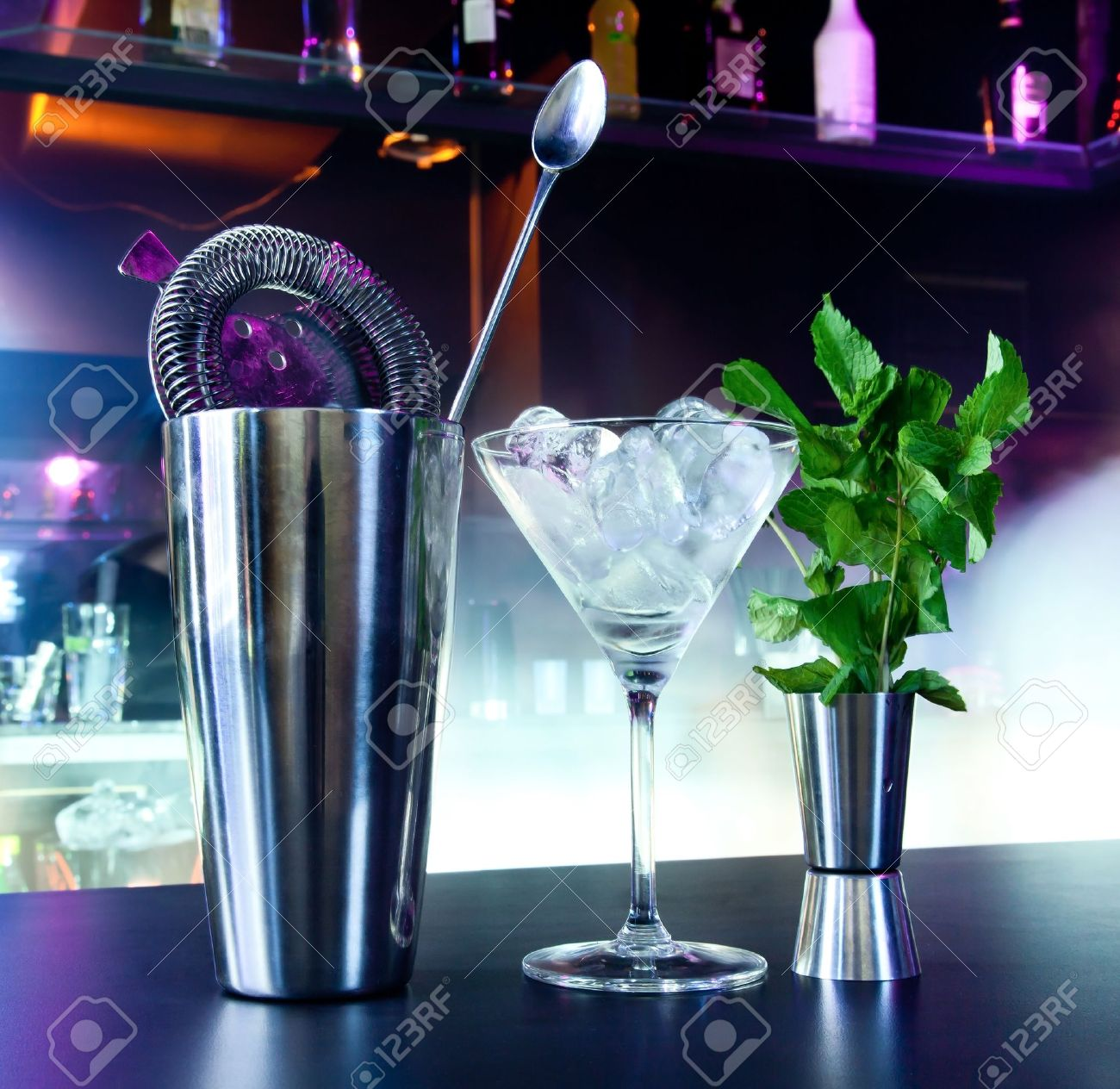 Shaker and bar inventory at a nightclub Stock Photo - 19502340
