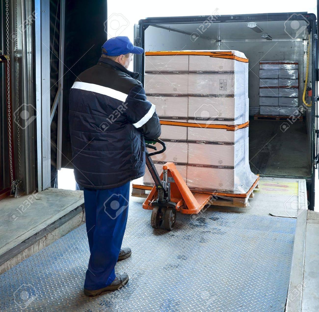 Worker loading truck on forklift Stock Photo - 19671548