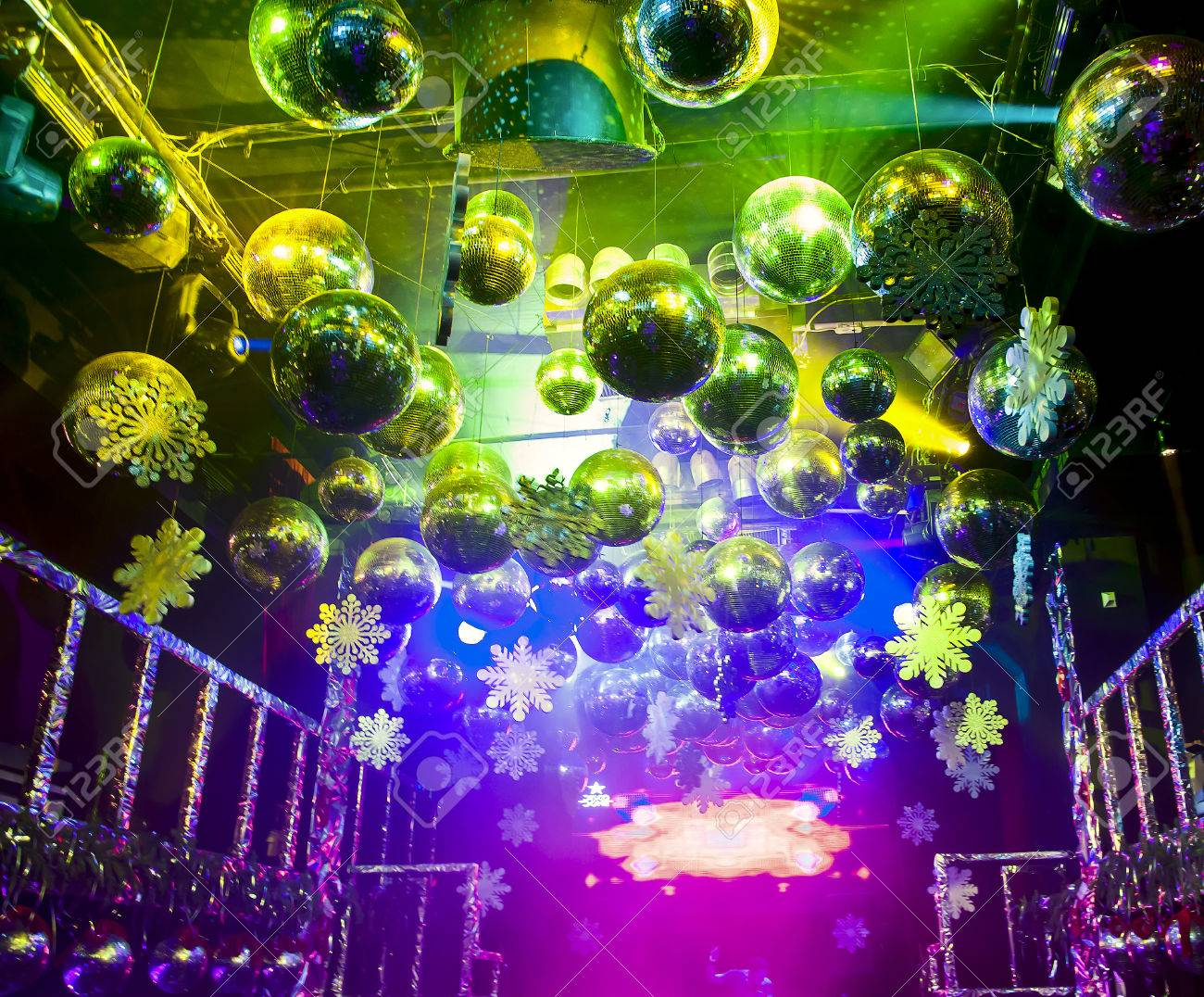 Colorful Lights And Disco Balls Decorations For Christmas At