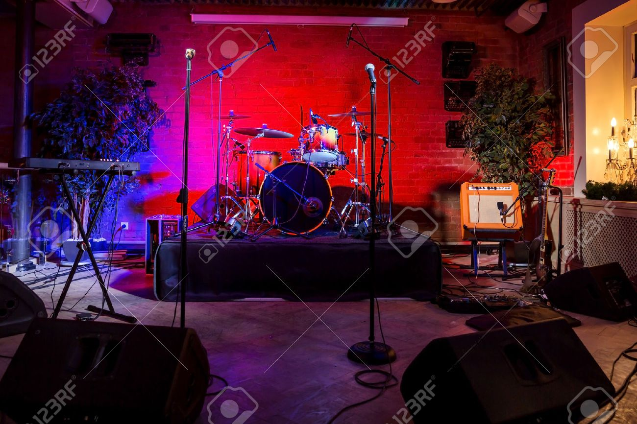 Empty outdoor rock stage - Rock Stage Rock Concert Stage With Musical Instruments In Nightclub