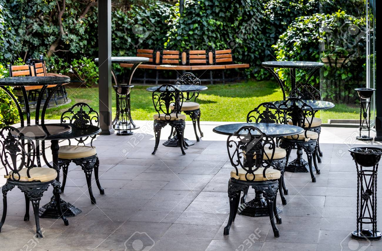 Terrace With Vintage Tables And Chairs In A Cafe Or Restaurant Stock Photo Picture And Royalty Free Image Image 96790279