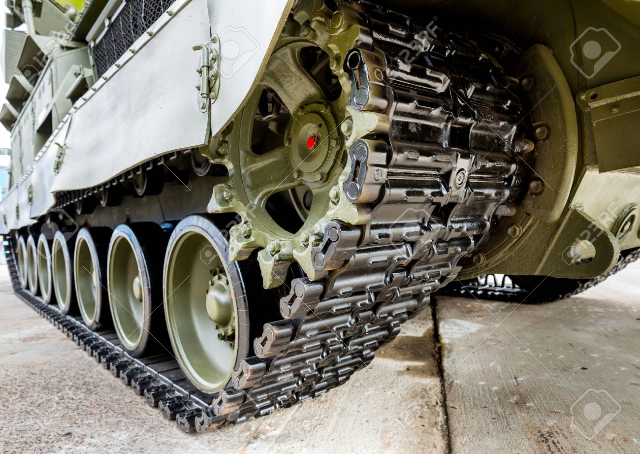 Crawler Tracks Of Military Tank And Steel Wheels Of Green Color,.. Stock  Photo, Picture And Royalty Free Image. Image 116005768.
