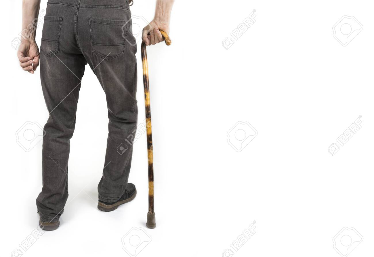 Retired man with cane in jacket on white - 143419188