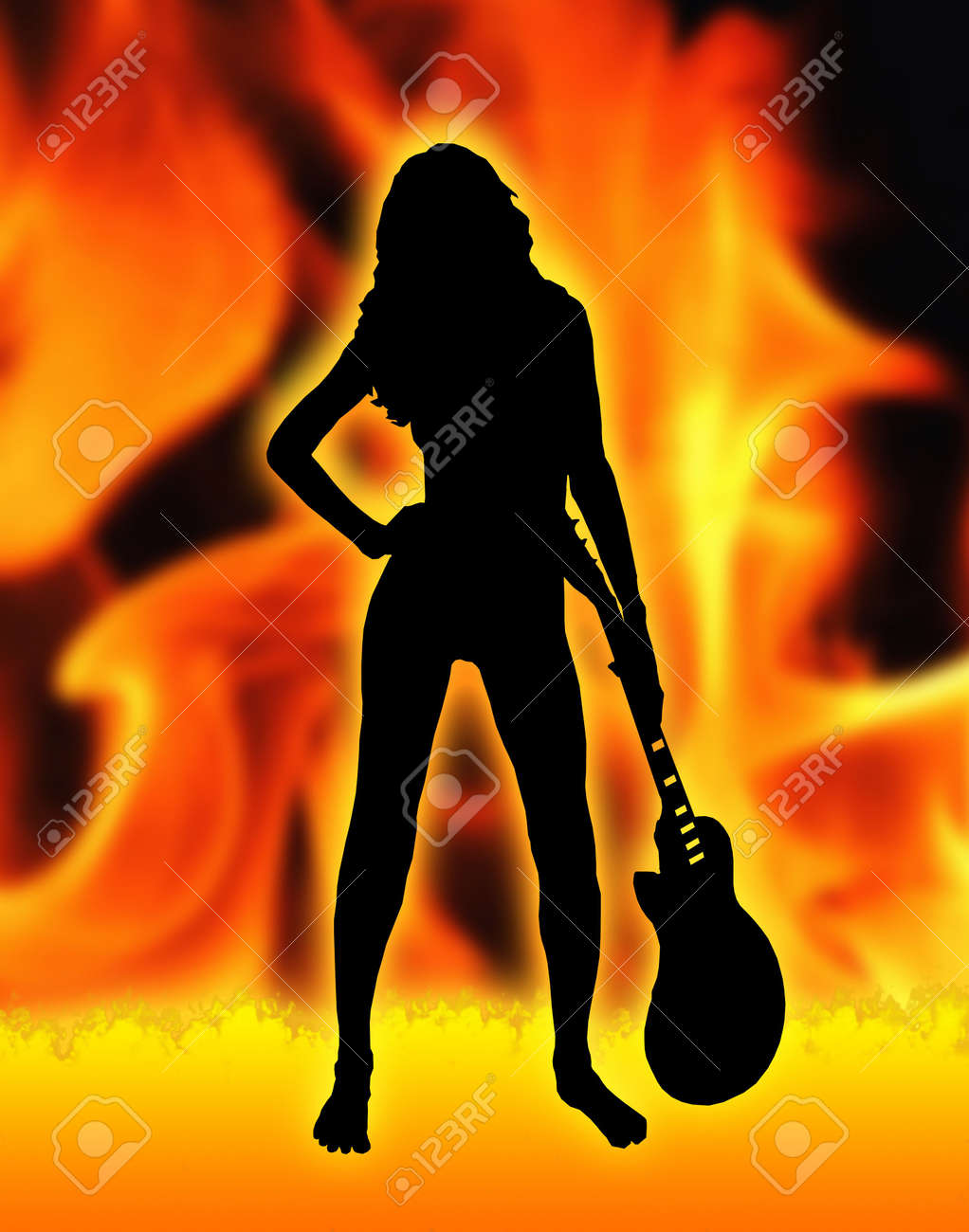 Woman Rock is an artist image of a woman with guitar Stock Photo - 833810