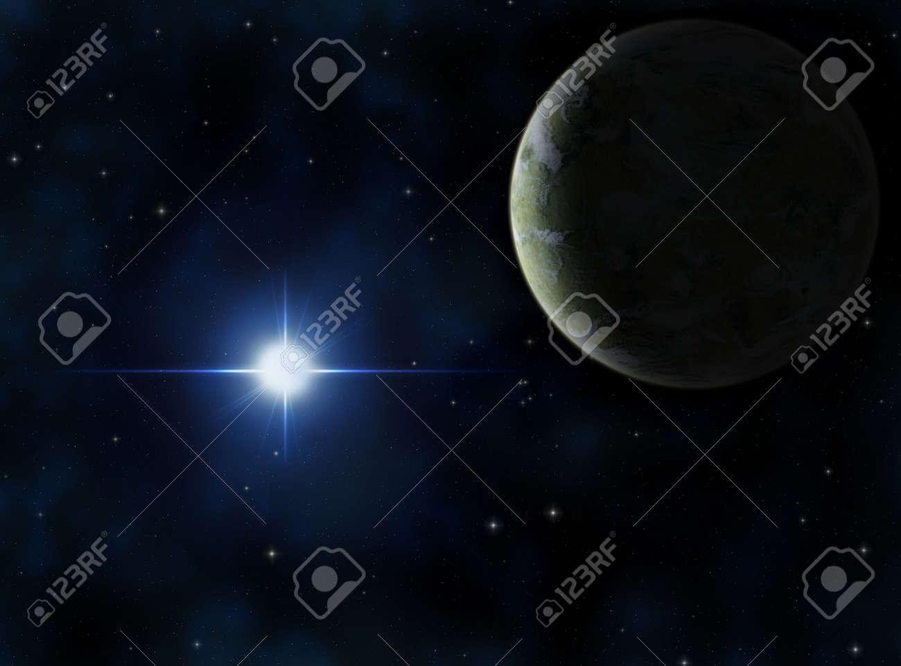 Alien planet around a bright blue star. Stock Photo - 939959