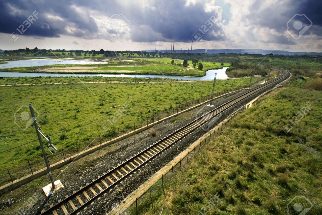 A suggestive landscape of the long rails  Location Sicily-Augusta