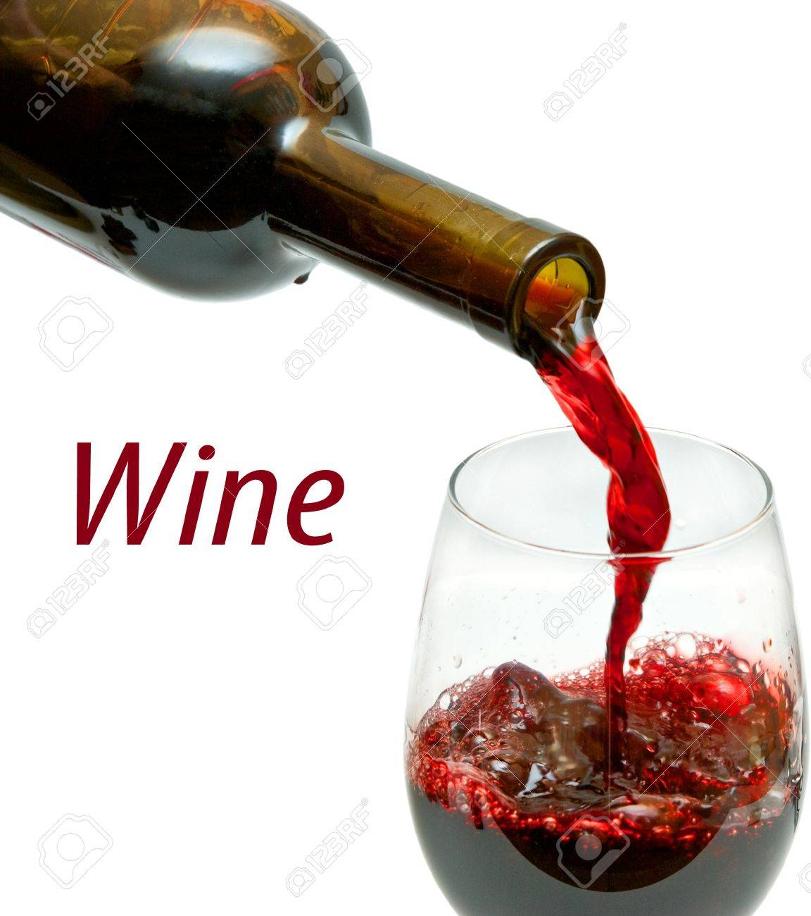 Red wine pouring down from a wine bottle, isolated on white Stock Photo - 14289366