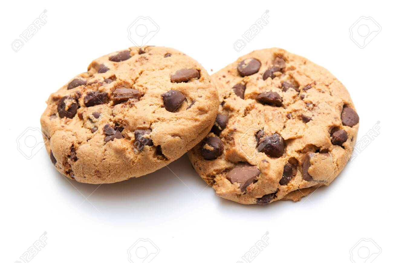 Chocolate chip cookie isolated on white - 123926707