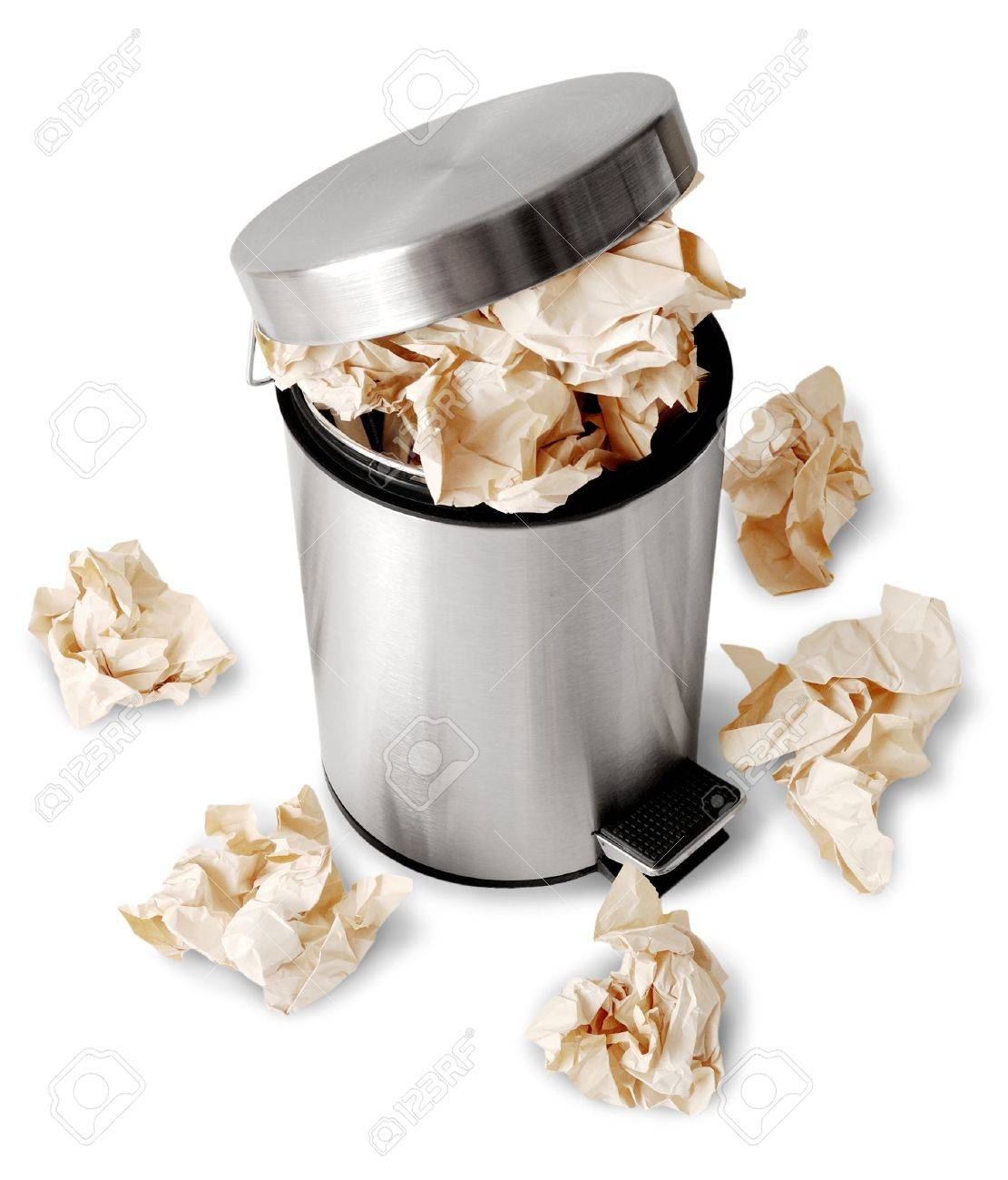 Wastebasket full up with crumpled paper. Isolated on white background Stock Photo - 3641081