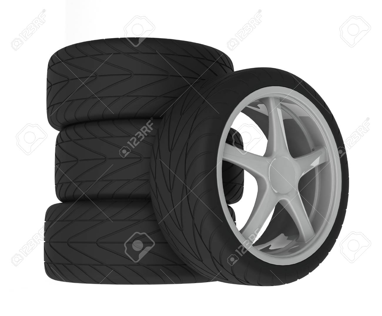 Heap of wheels with aluminium rims over the white background Stock Photo - 4883147