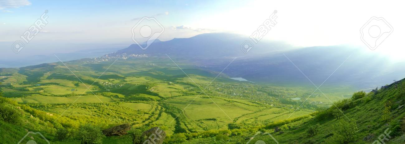Panorama of Beautiful Mountain Valley with Sunlight Stock Photo - 7266520
