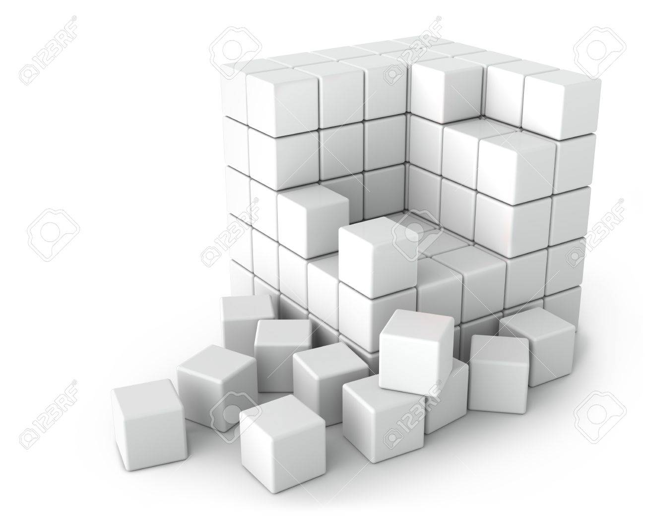 Big White Cube of Small Cubes on the White Background - 17706513