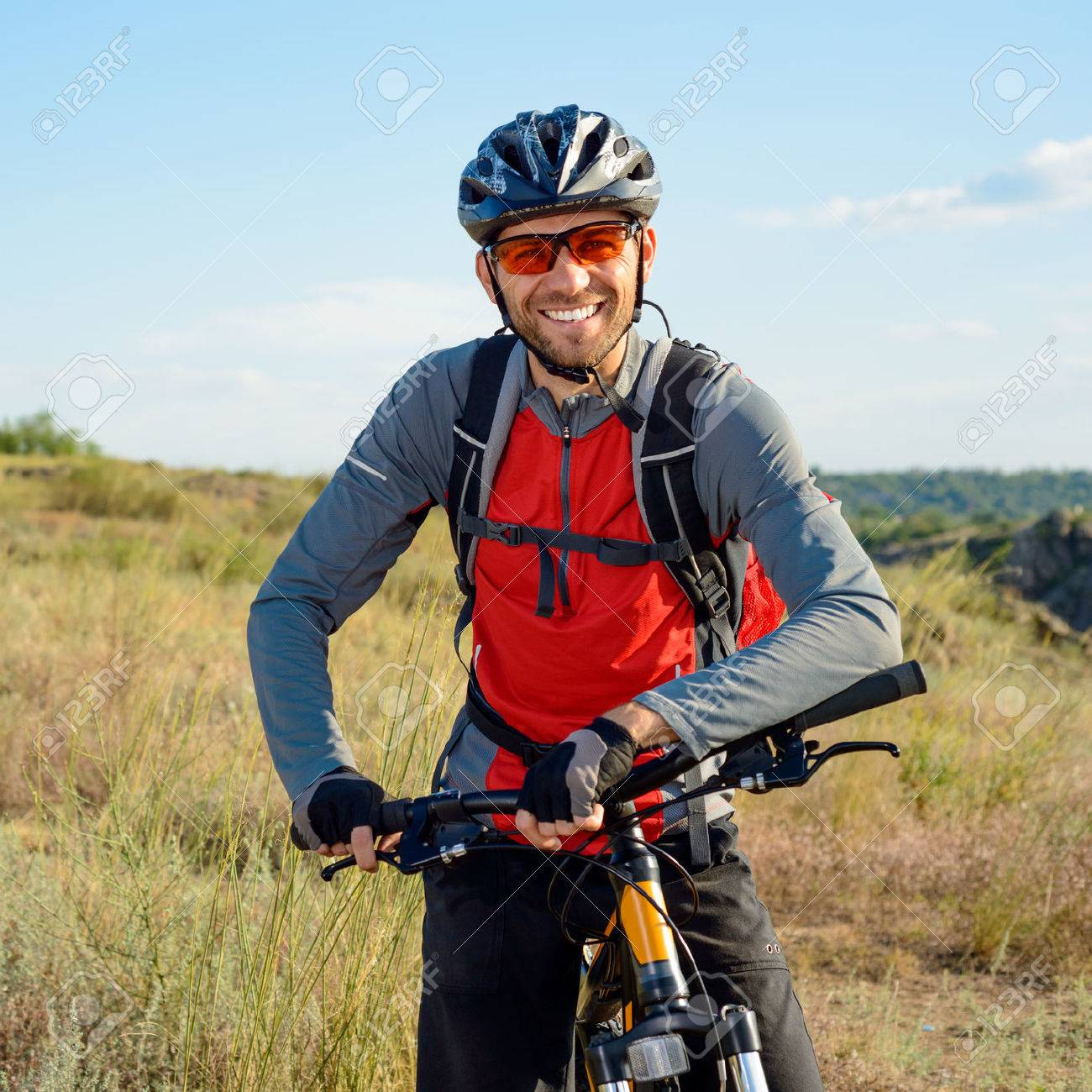 Portrait of Young Cyclist in Helmet and Glasses. Sport Lifestyle Concept. - 44647760