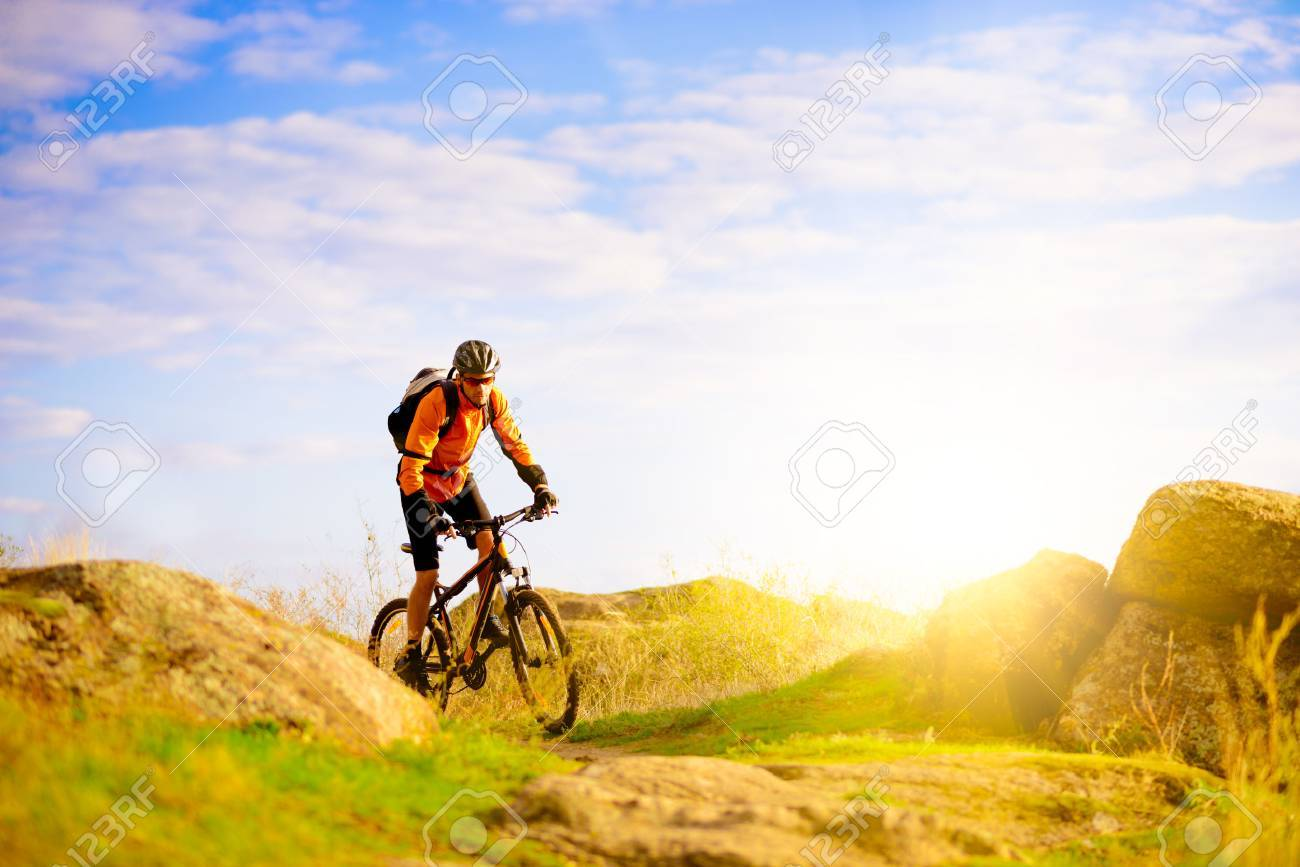 Cyclist Riding the Bike on the Morning Mountain Trail - 50903288