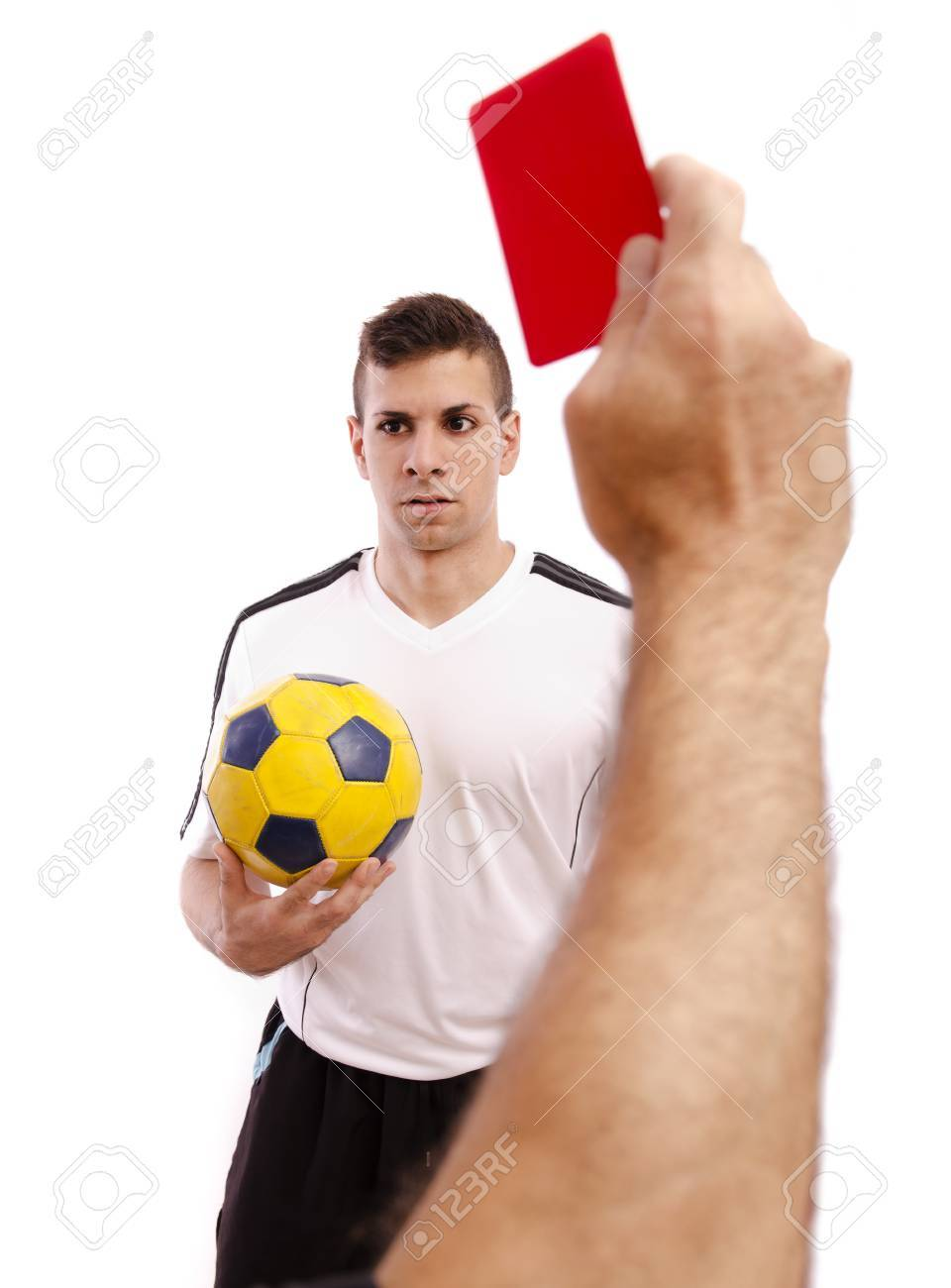 Referee show red card to soccer player, isolated on white. Stock Photo - 22483912