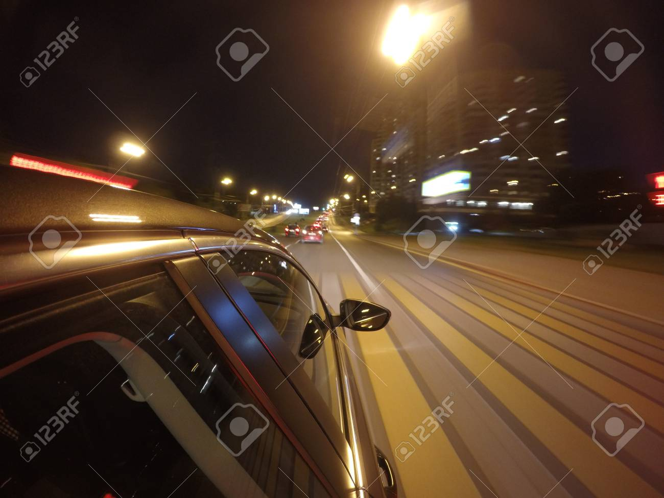 The Car Is Moving At High Speed On The Night Road In The City Stock Photo Picture And Royalty Free Image Image 88234400