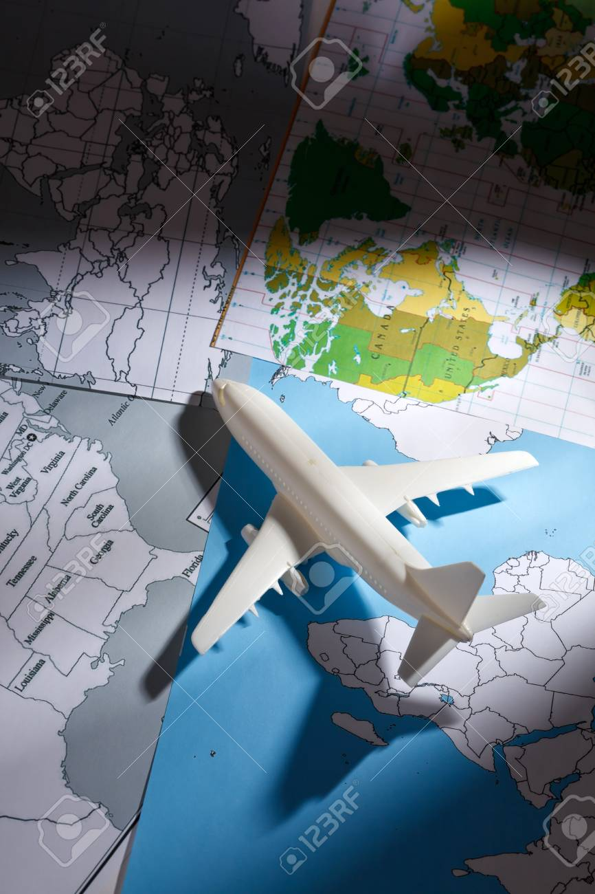 airliner with a maps Stock Photo - 9497990
