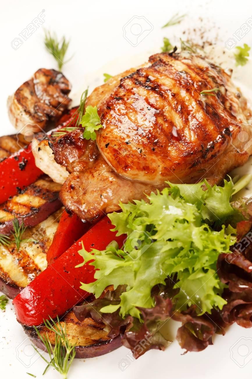 Chicken Steak with vegetables Stock Photo - 16230992