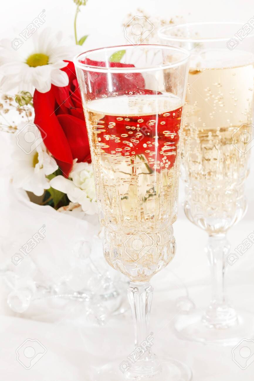 champagne with wedding flowers Stock Photo - 18043752