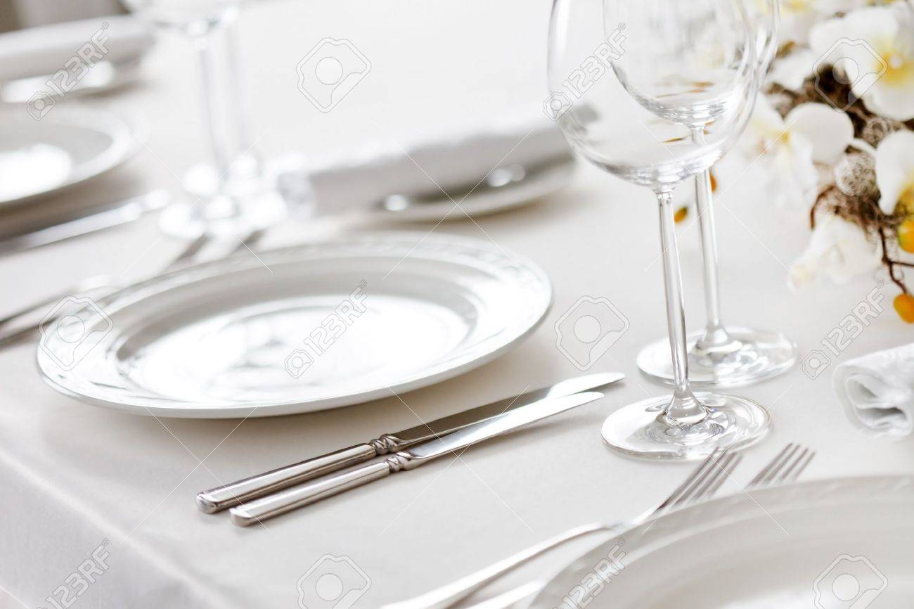 Simple Restaurant Table Setting - Restaurant table restaurant interior stock photo