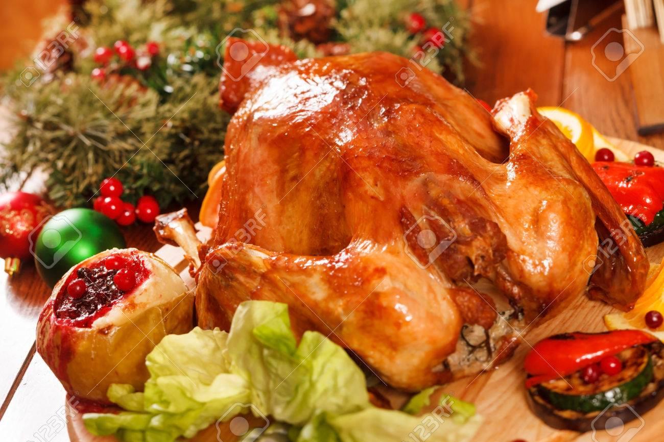 Garnished roasted turkey Stock Photo - 23402411