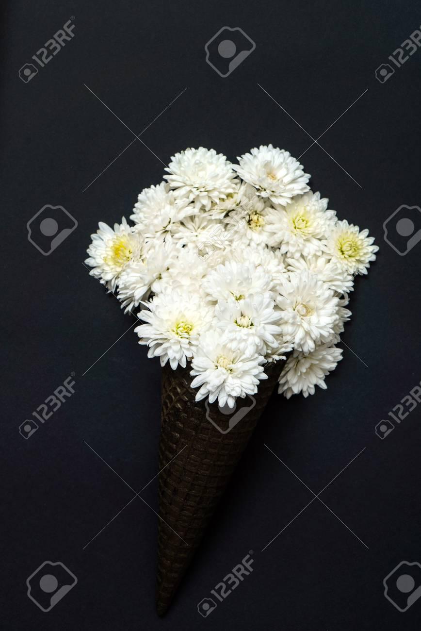 White Chrysanthemum Flowers In Black Waffle Cone Stock Photo